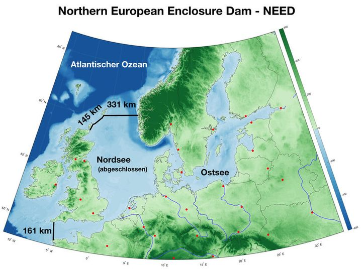 """Karte der Nordseee mit möglichen Dämmen: """"Nach unseren bisherigen Maßstäben völlig unvorstellbar"""""""