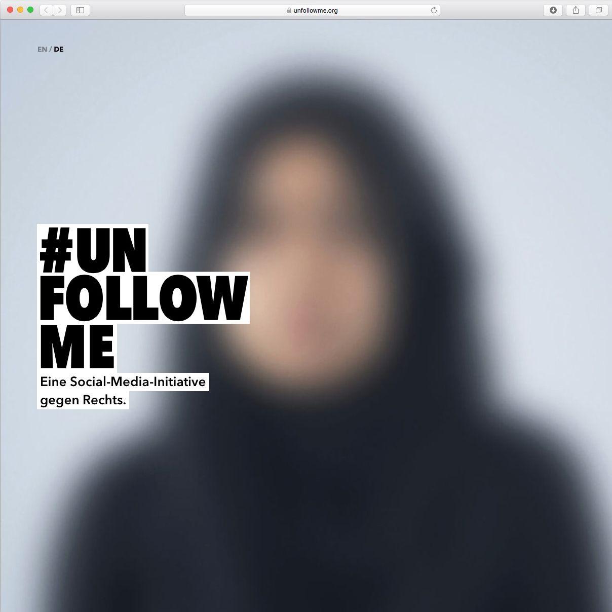 NUR ALS ZITAT Screenshot/ unfollow me/ Social-Media gegen Rechts