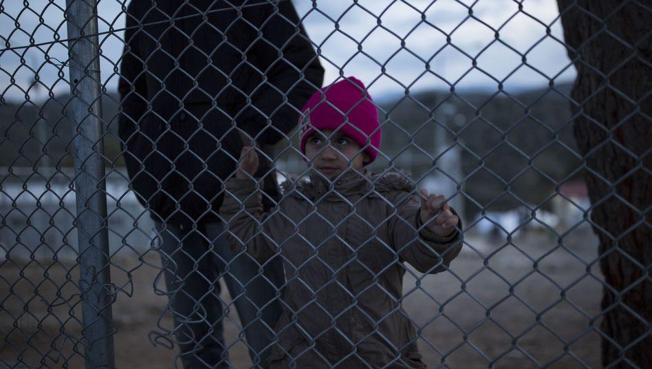 Flüchtlinge im Registrierungslager Moria auf Lesbos
