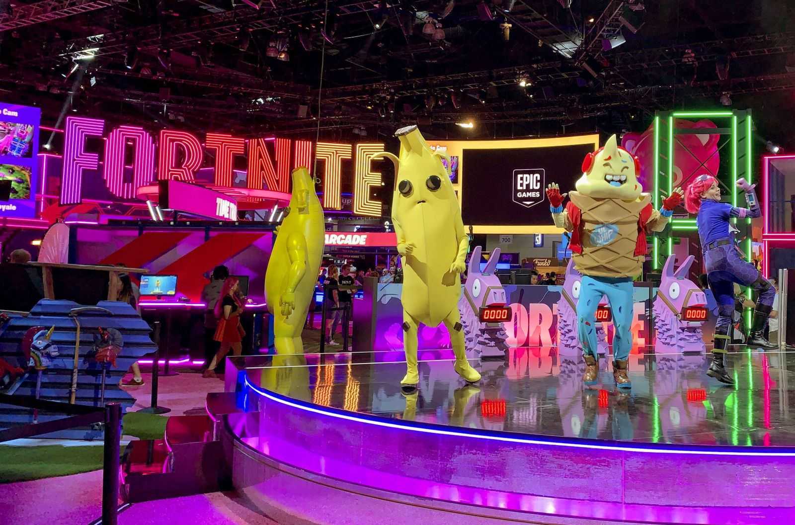 Fortnite vs. Apple Photo taken in June 2019 shows Epic Games Inc. s booth featuring its popular video game Fortnite in