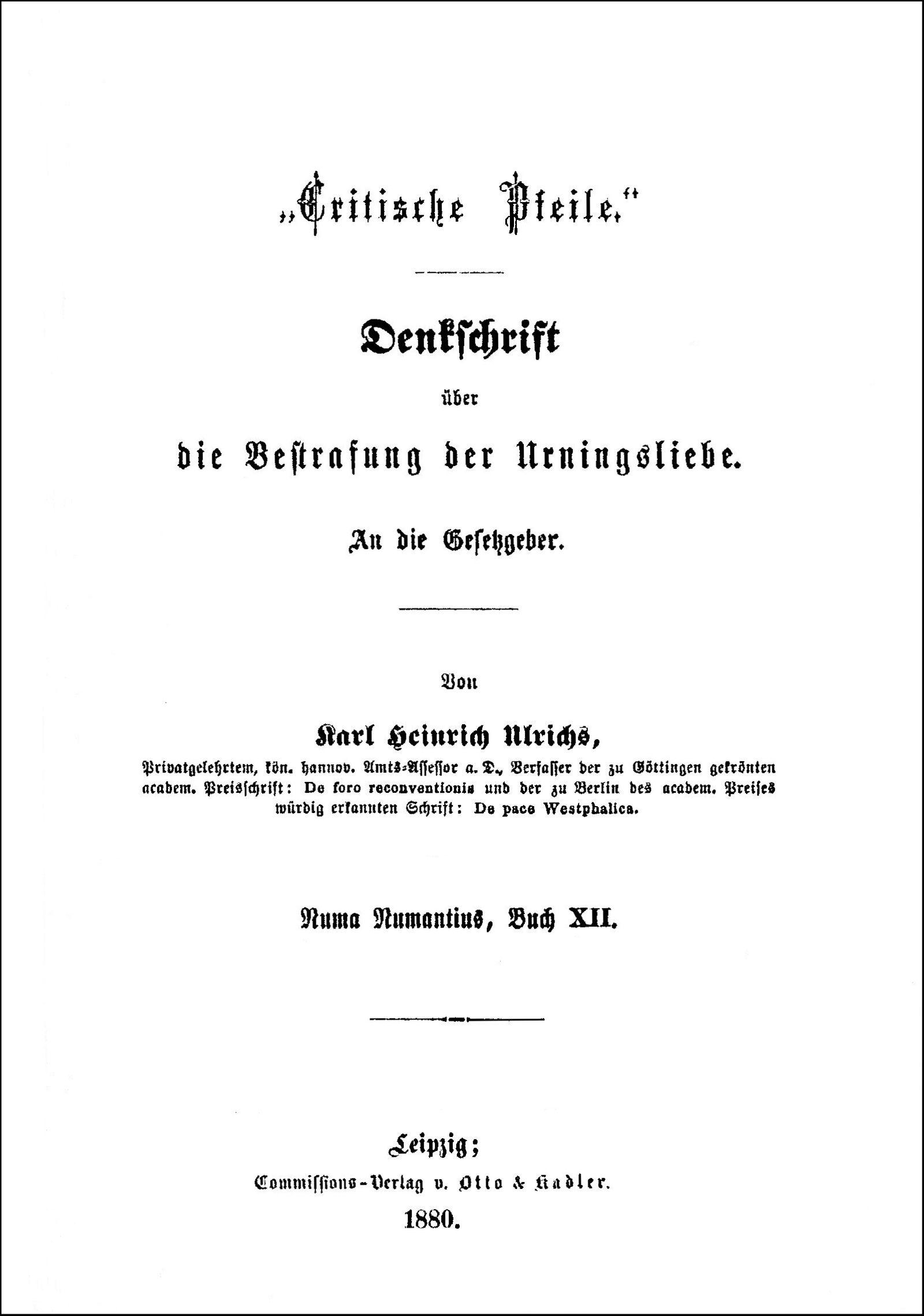 Titlepage of Ulrichs' Critische Pfeile, 1880