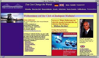 Homepage des Club of Budapest: Man will so viel Gutes tun