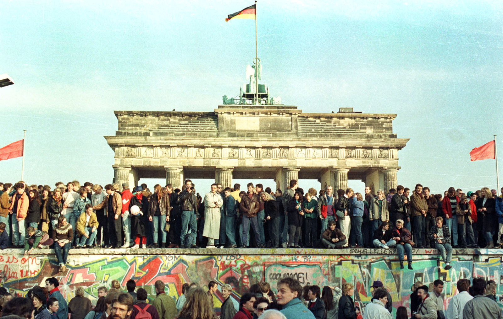 WEST BERLIN CITIZENS HOLD VIGIL ATOP THE BERLIN WALL - FILE PHOTO