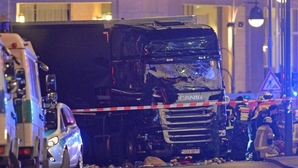 Der Lkw nach dem Anschlag in Berlin