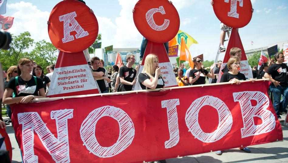 Demonstration gegen Jugendarbeitslosigkeit in Europa (2013 in Berlin): Die EU hat nicht Wort gehalten