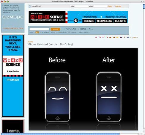 iPhone-Frust: So illustriert das Gadget-Blog Gizmodo seine iPhone-Abrechnung