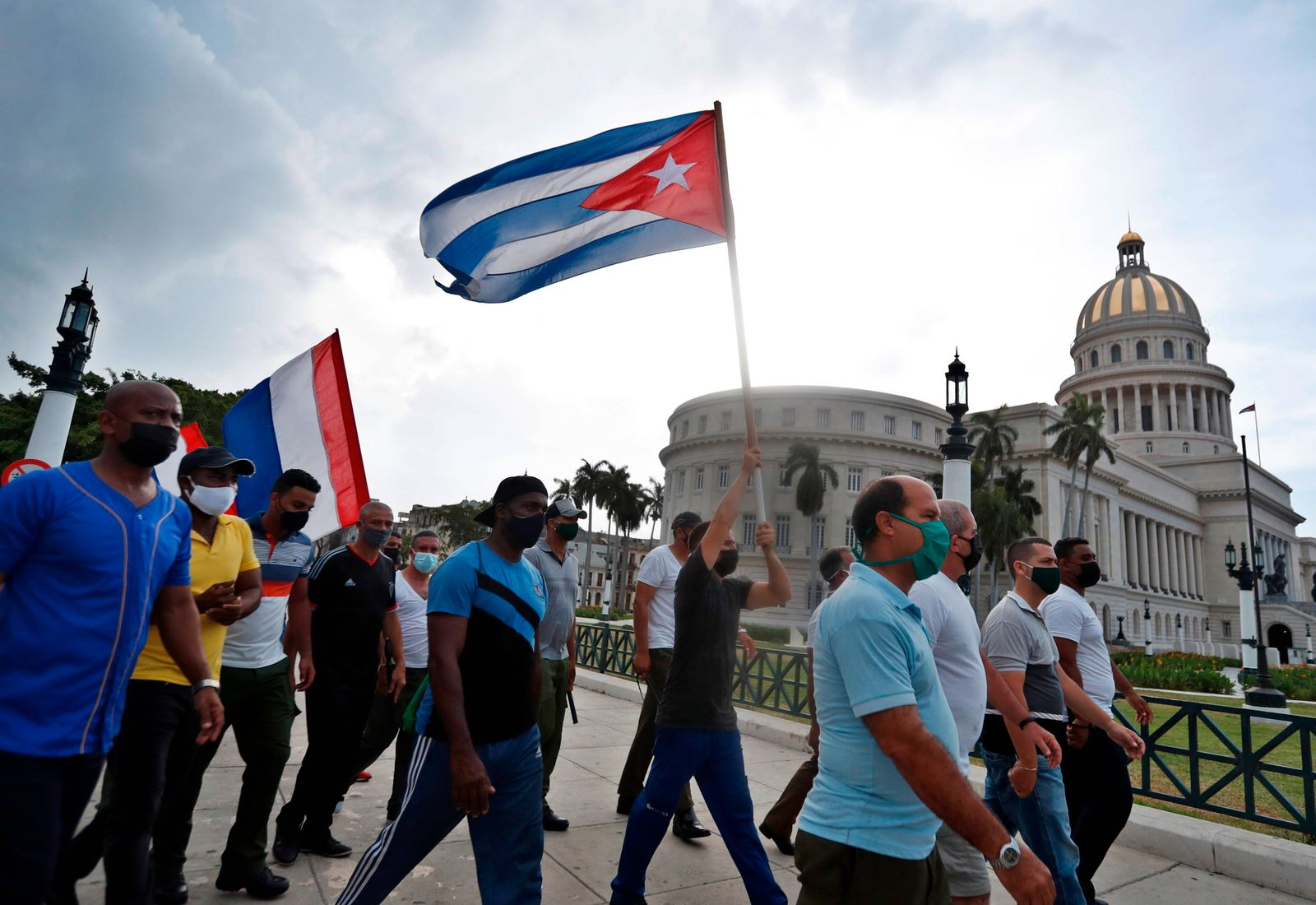 Supporters of the Miguel Diaz-Canel government demonstrate in front of the Capitol, headquarters of the National Assemb