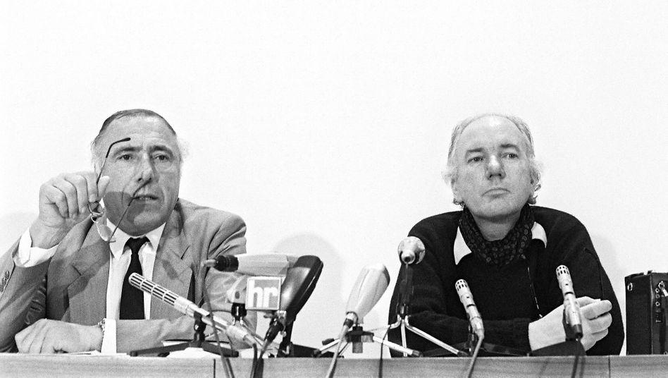 Siegfried Unseld und Thomas Bernhard auf der Frankfurter Buchmesse 1984