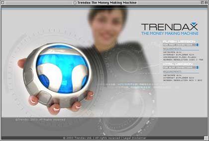 Trendax-Webseite: Anmutung einer Science-Fiction-Geschichte
