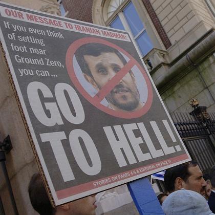 Protest gegen Irans Präsidenten: Ehemalige Studenten der Columbia University demonstrieren gegen die geplante Rede Ahmadinedschads