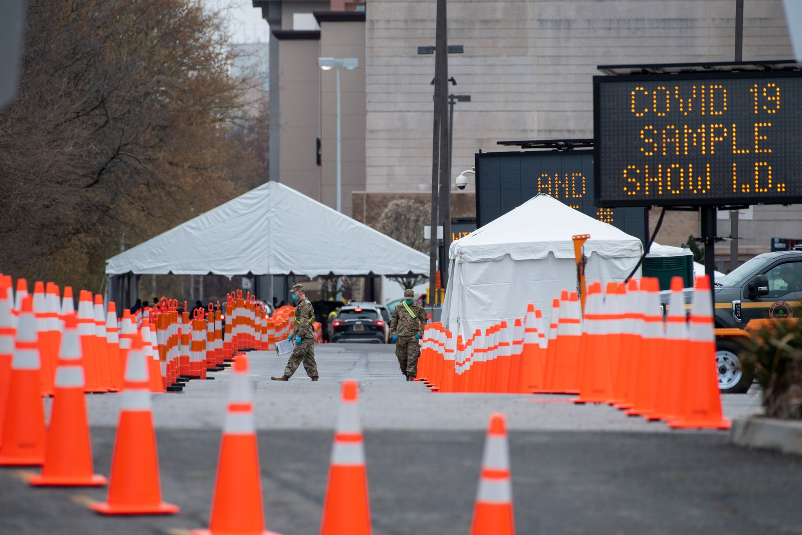 A testing site for the coronavirus is readied in the Bronx, on Monday, March 30, 2020. (Gregg Vigliotti/The New York Times)