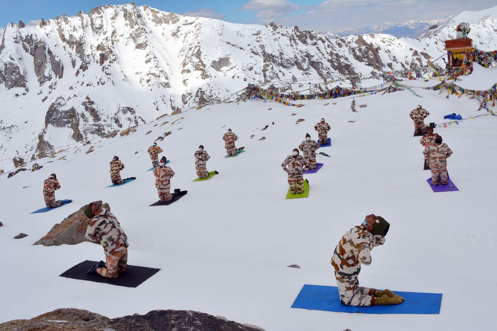ITBP Force personnel perform Yoga in Ladakh, India - 21 Jun 2020