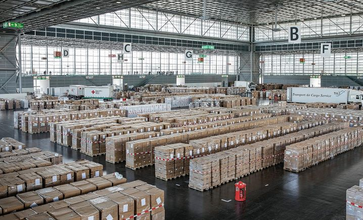 Studies have shown that wearing masks can significantly slow the spread of the coronavirus. Even in Germany, though, there are those who refuse to wear them. This image is from a medical supply warehouse in Germany.