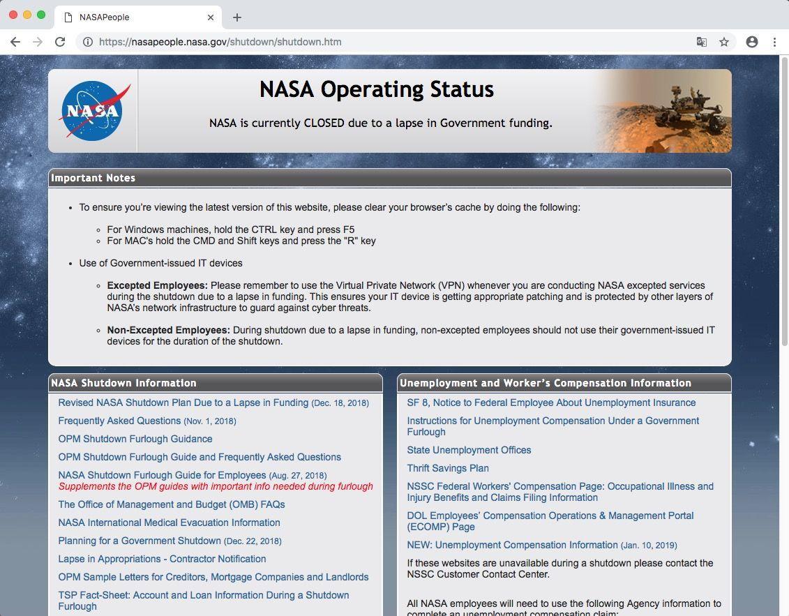 EINMALIGE VERWENDUNG NUR ALS ZITAT VERWENDEN / US Shutdown / NASA
