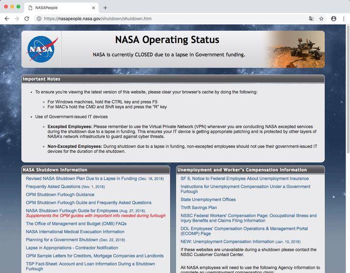 Screenshot von der Nasa-Homepage
