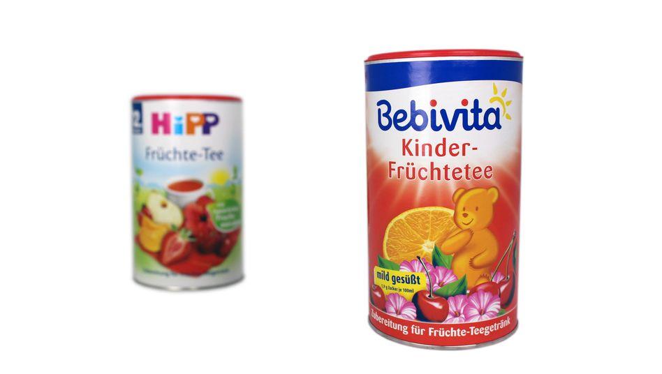 Alt und neu: Die Kinder-Früchtetees von Hipp (links) und Bebivita