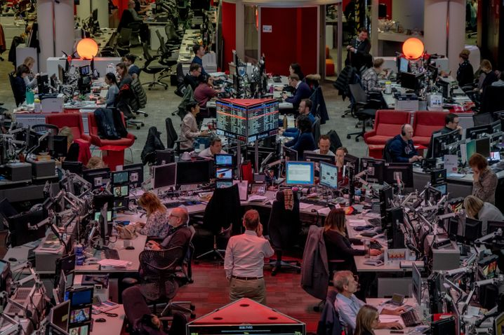 The BBC newsroom in London: Trust is eroding.