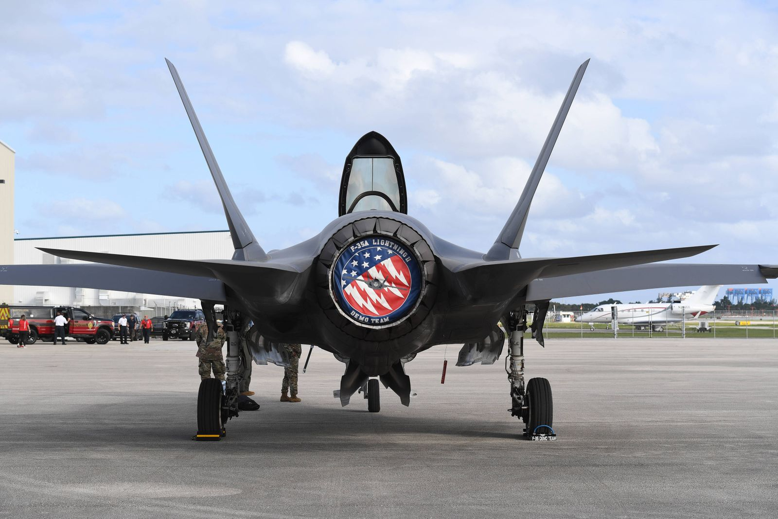 FORT LAUDERDALE FL - NOVEMBER 19: The Lockheed Martin F-35 Lightning II is seen on the tarmac during press day for the