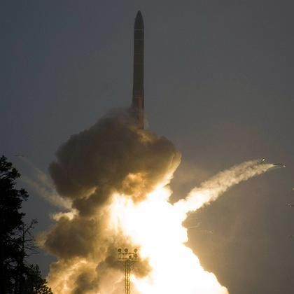 Russia's new intercontinental ballistic missile dduring a test launch on May 29.