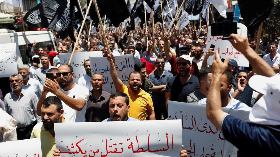 Demonstranten in Ramallah