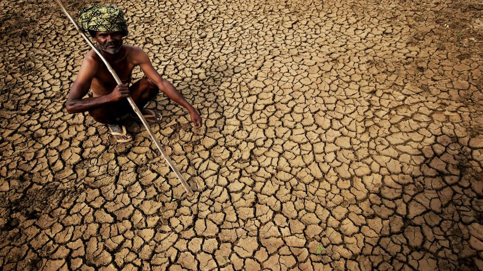 Indischer Bauer auf seinem Feld: Keine Abkühlung in Sicht