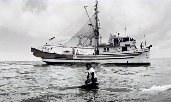 Der Aktivist Paul Watson auf einem toten Wal-Baby im Pazifik
