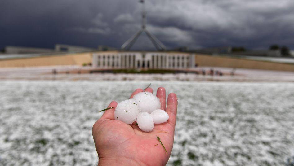 So groß wie Golfbälle waren manche Hagelkörner, die in Canberra auf die Erde fielen