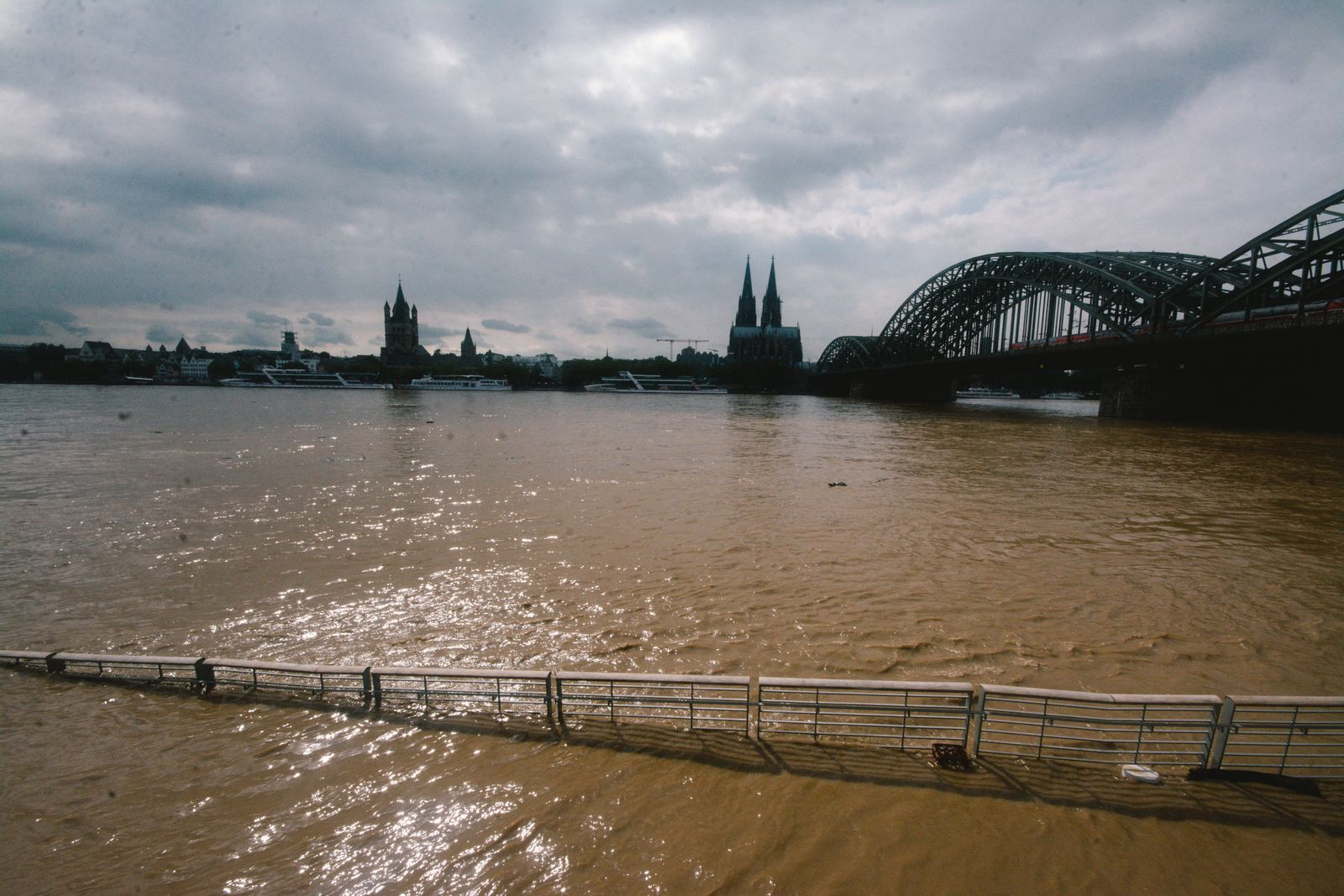 Flood In Cologne Continues Flooding scene is seen from Rhine river in Cologne, Germany on July 15, 2021 as NRW experienc