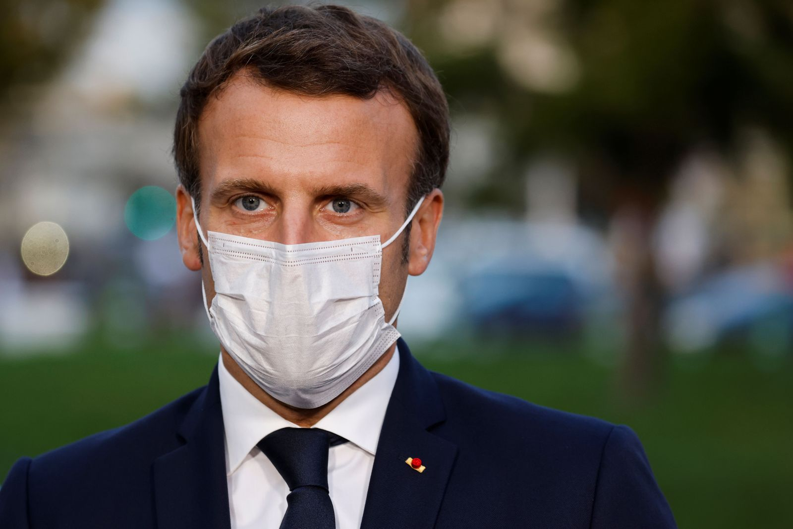 French President Emmanuel Macron at Rene Dubos hospital, Pontoise, France - 23 Oct 2020