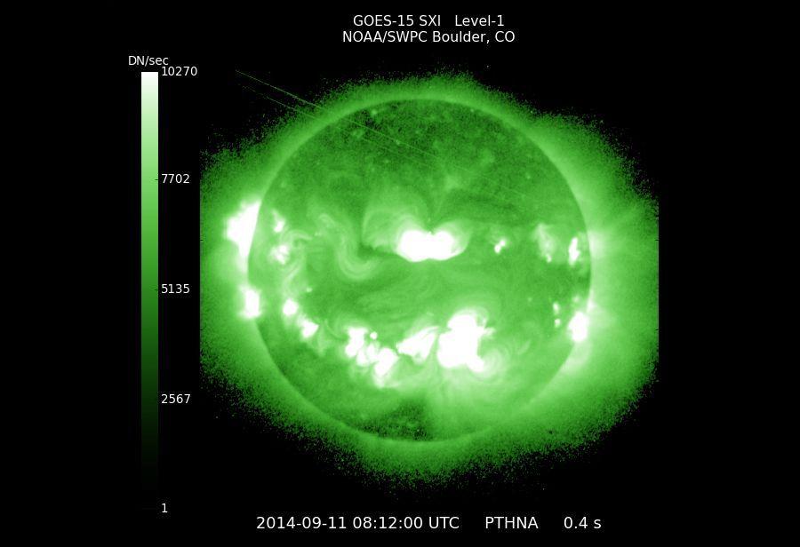 EINMALIGE VERWENDUNG Solar flare/ Latest GOES Solar X-ray Image