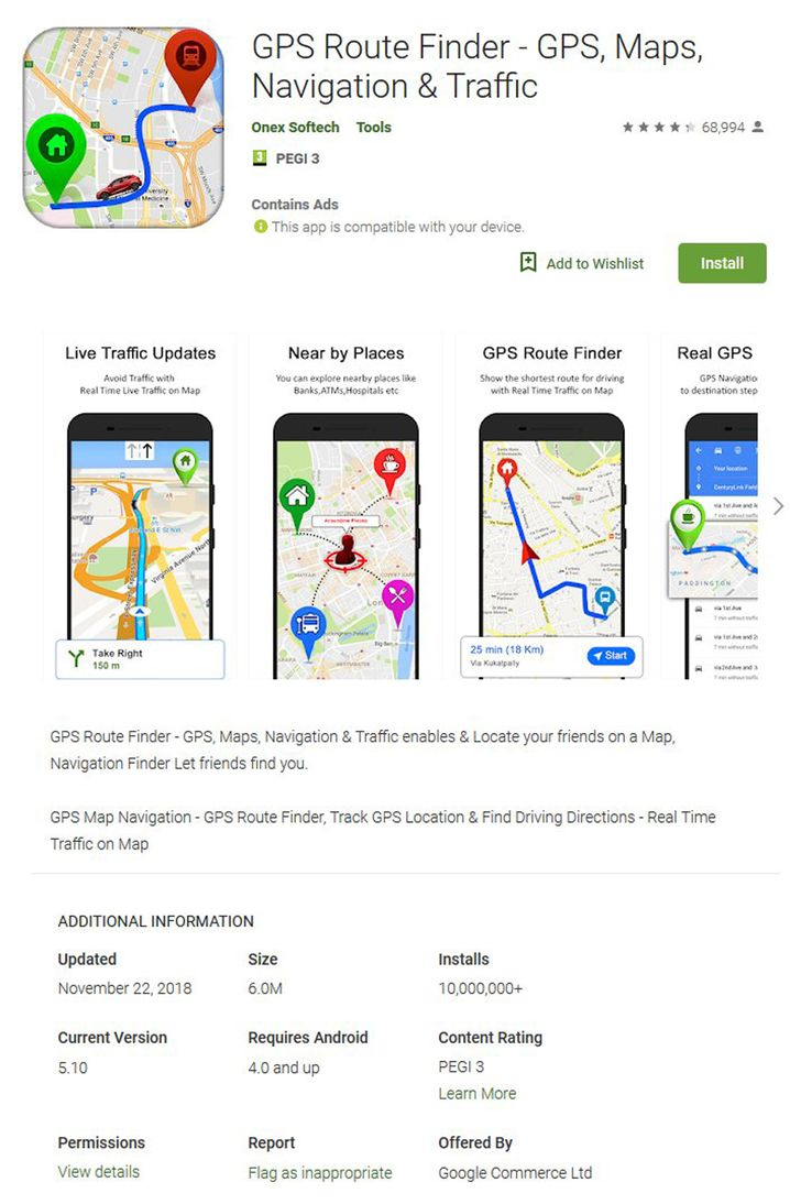 "Android-App ""GPS Route Finder - GPS Karten, Navigation und Ver"""