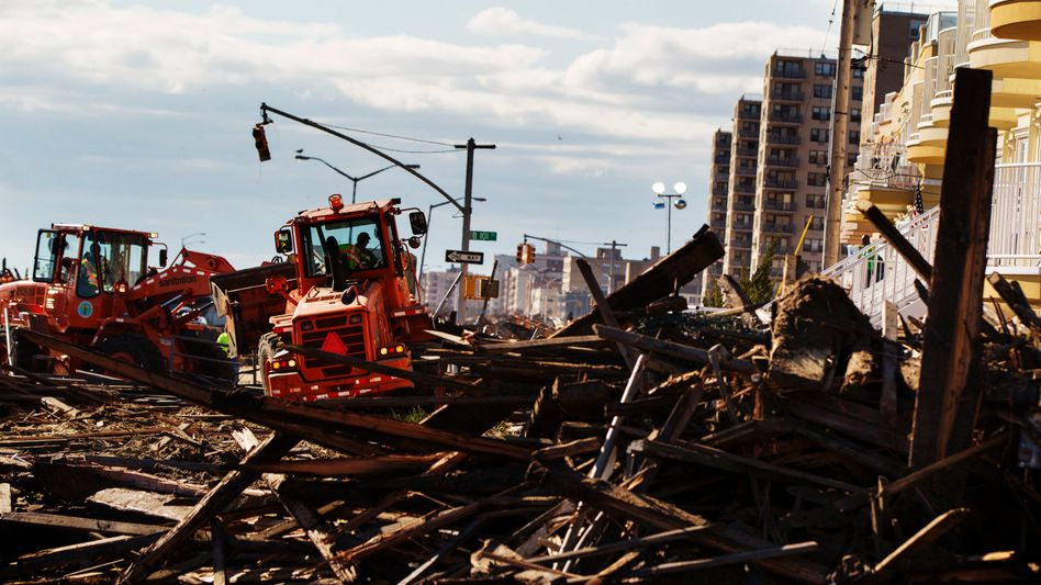 Cleanup after debris following Hurrican Sandy in the Queens borough of New York.
