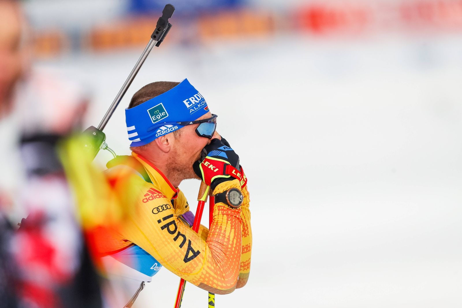 201128 Erik Lesser of Germany competes in the mens 20 km during the IBU World Cup on November 28, 2020 in Kontiolahti