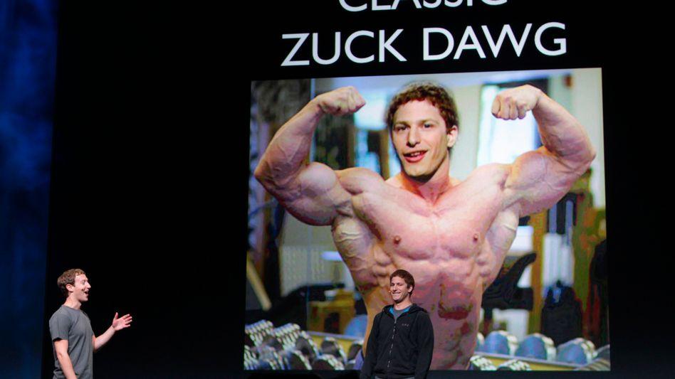 Mark Zuckerberg und der Comedian Andy Samberg: Facebook macht auf Apple
