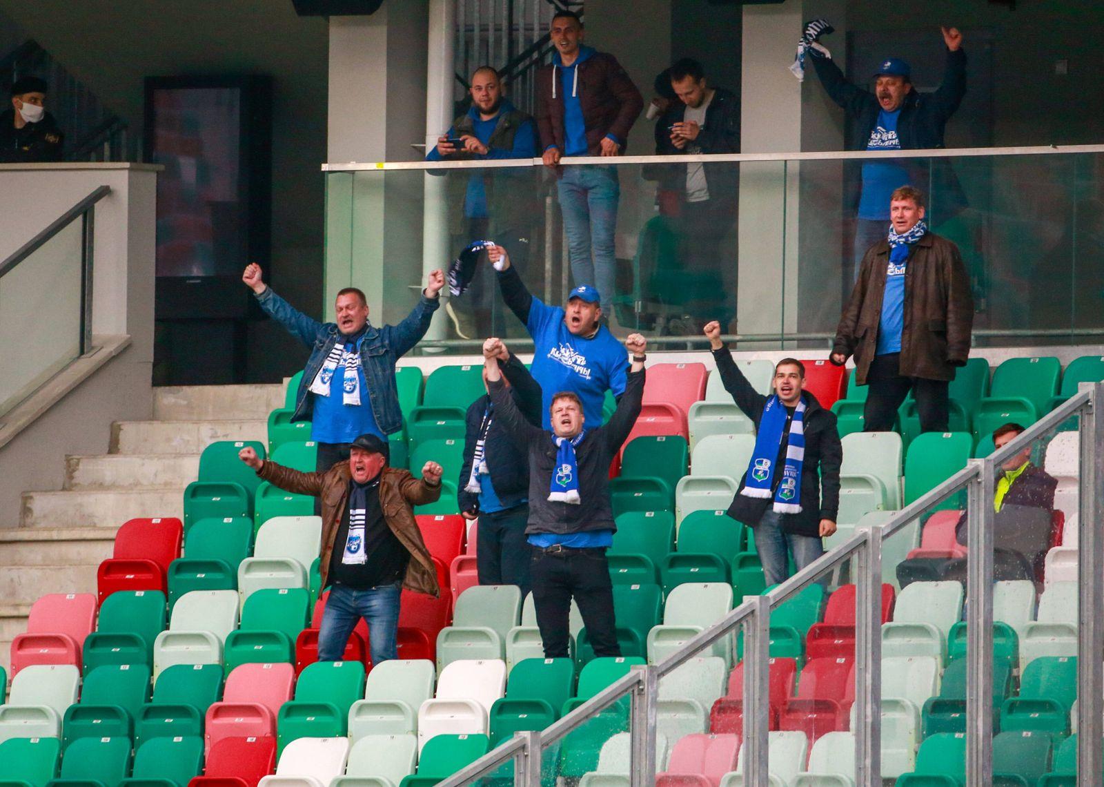 02.05.2020 MINSK, BELARUS. Fans watch a 2020 Belarusian Premier League Round 7 football match between FC Dinamo Minsk a