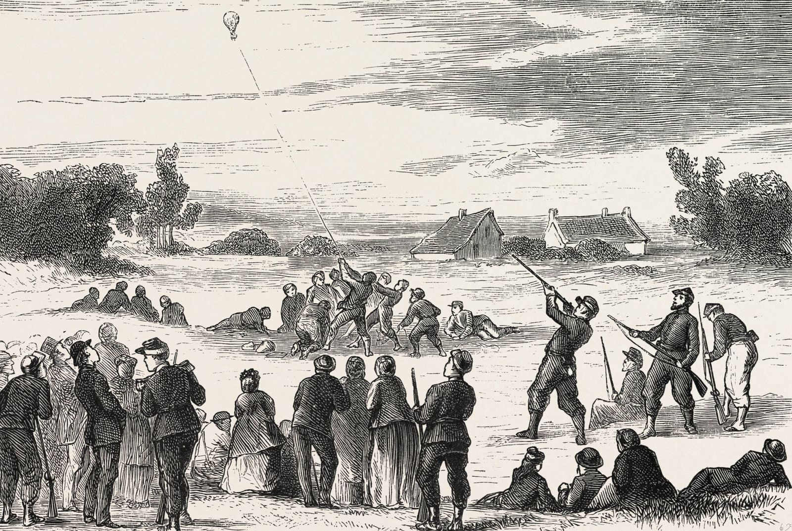 Franco Prussian War Life in Tours France Practising Shooting at a Captive Balloon 1870 PUBLICATI