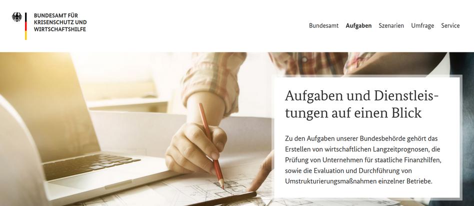 """Screenshot der Website des fiktiven """"Bundesamtes für Krisenschutz und Wirtschaftshilfe"""" (inzwischen gelöscht)"""