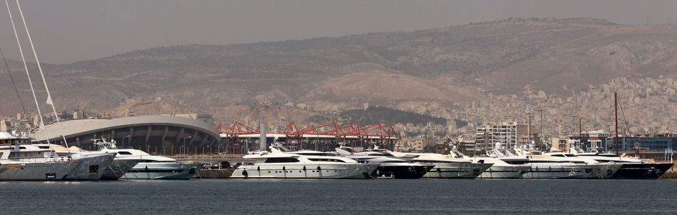 Luxury yachts docked at the Flisvos Marina, southern Athens, in 2010.