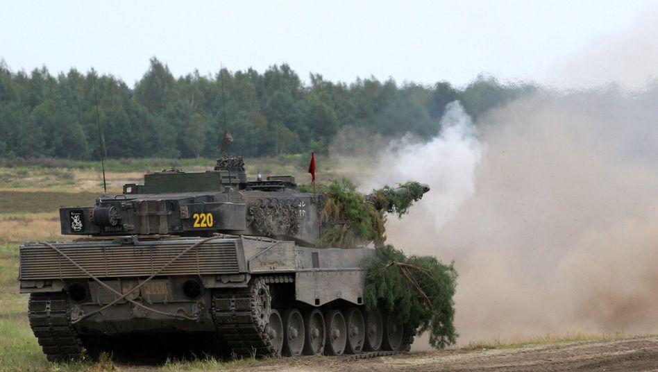 A German Leopard II tank