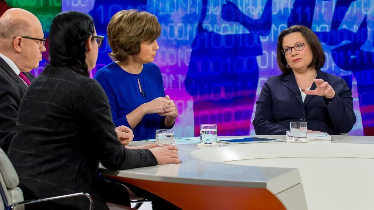 "EINMALIGE VERWENDUNG Andrea Nahles / ZDF-Sendung ""Maybrit Illner"","