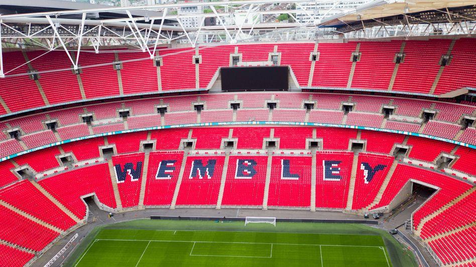 Luftaufnahme des Wembley-Stadions (Archivbild): Hier treffen Deutschland und England im EM-Achtelfinale aufeinander