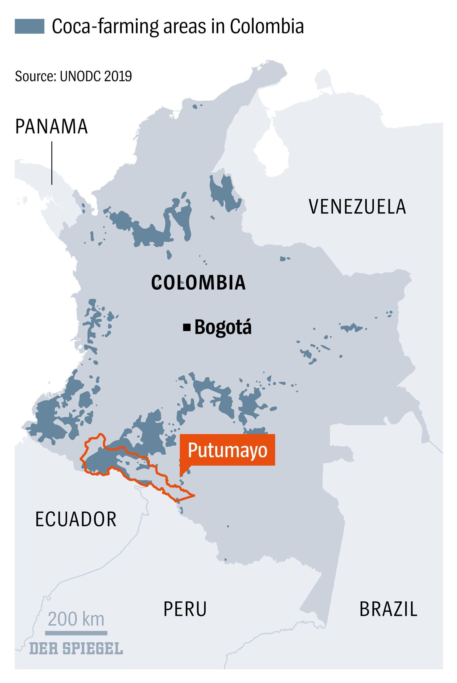 Coca-farming areas in Colombia