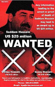 US-Fahndungsplakat: Gesucht wegen Besitzes von Massenvernichtungswaffen und Unterstützung des internationalen Terrors
