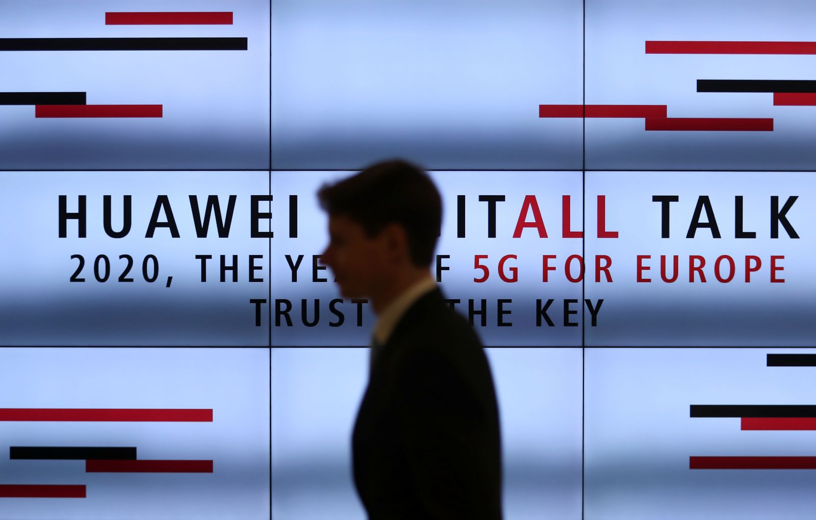 """A man attends a conference """"2020, The Year of 5G for Europe"""" at the the Huawei Cyber Security Transparency Centre in Brussels"""