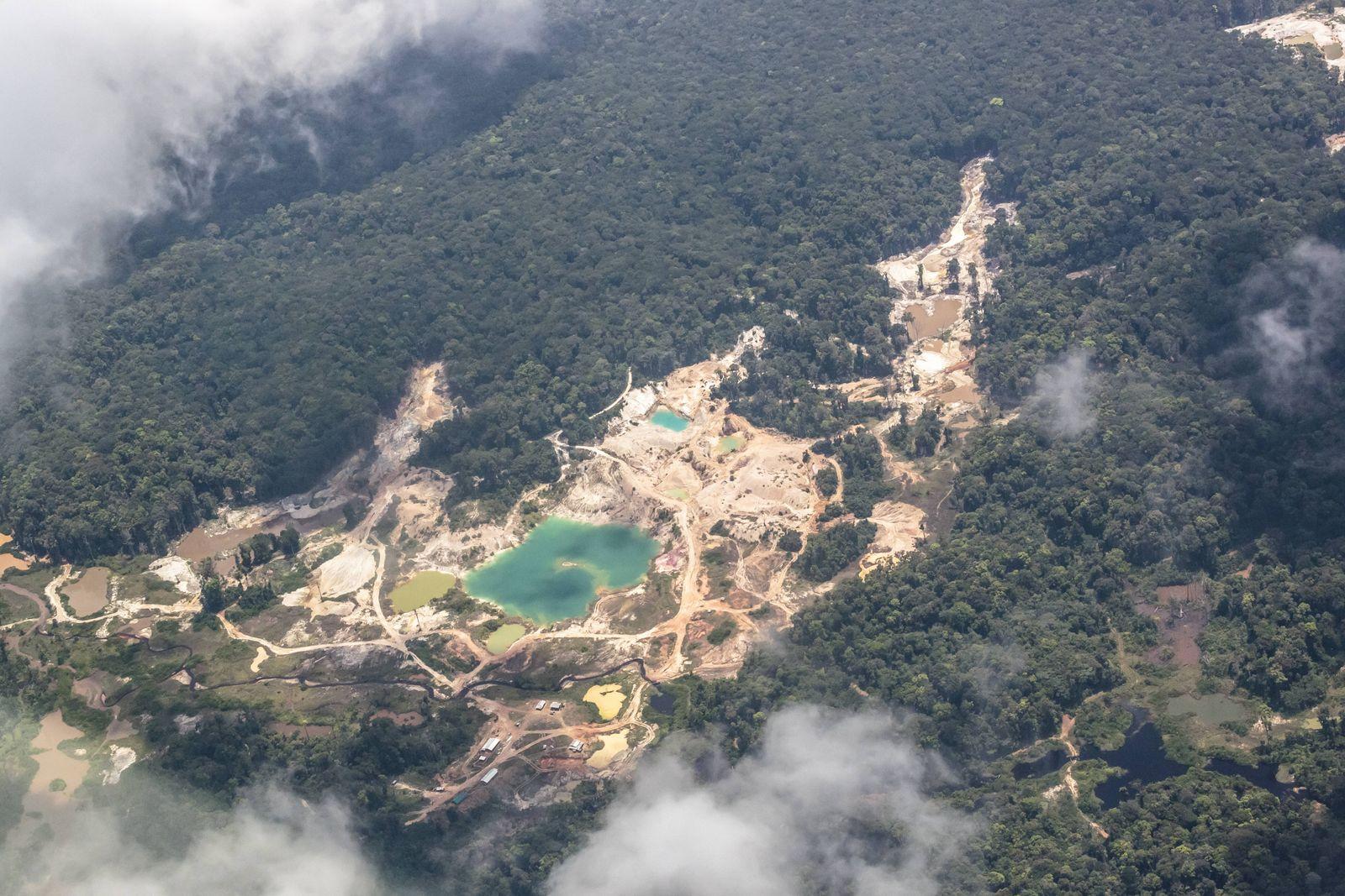 South America Guyana Kaieteur Falls Aerial view of gold mines PUBLICATIONxINxGERxSUIxAUTxONLY Co