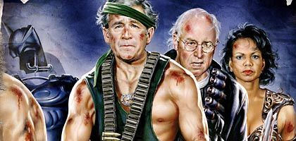 """This illustration was on the cover of this week's SPIEGEL. It is a remake of a SPIEGEL cover from 2002 (below) showing President George W. Bush's cabinet on its way to war. The US Embassy in Berlin ordered 33 copies of the original illustration in poster form for the White House. There has been no word yet as to whether orders have been placed for the new version. The title reads """"The Bush Warriors: End of the Show."""""""