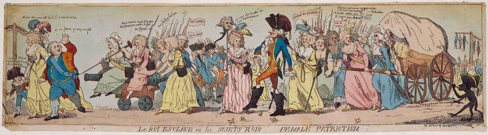 Gerechtigkeit Am 5. Oktober 1789 zogen Pariser Frauen spontan nach Versailles, um von den Monarchen Brot und mehr Rechte zu fordern. Tags darauf zogen sie zurück – mit Wagen voller Mehl und mit der Herrscherfamilie, die unter dem Druck der hungrigen Bürger das üppige Leben in Versailles hinter sich lassen musste. Es war einer der ersten Erfolge der Revolution (zeitgenössische Karikatur).