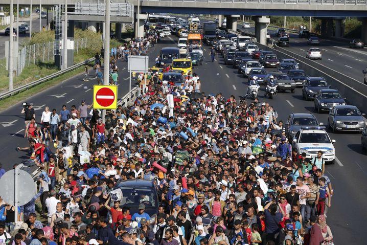 Flüchtlinge auf der Autobahn in Ungarn: Immer weiter Richtung Westen