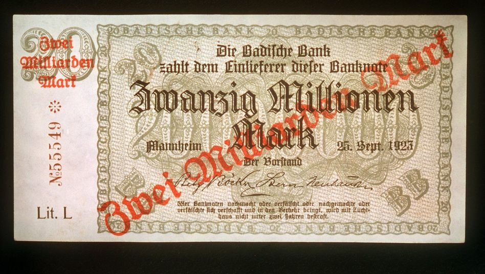 Inflation in action: This photo shows a German mark note from 1923 with a printed value of 20 million. During hyperinflation, it was stamped to become 2 billion marks.