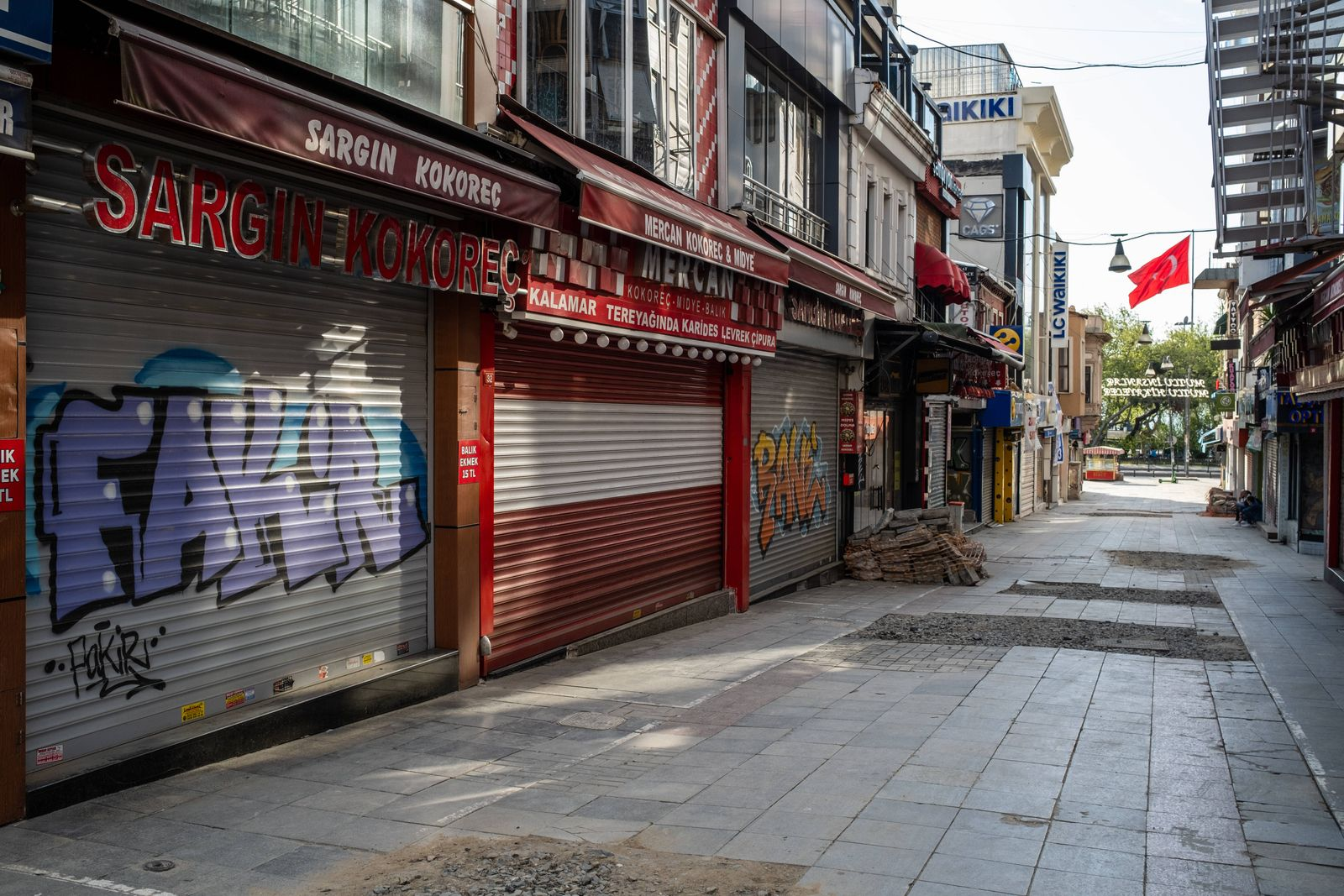 Full Lockdown In Istanbul The empty streets of Istanbul, Turkey seen on May 5, 2021. The government imposed a 19-day cu